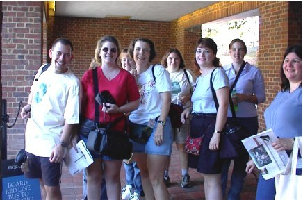 Standing in line for the shuttle to Colonial Williamsburg--Mark, Jen C., Bonnie, Tweety, Jennie, Jennifer N., Claire, and Cynthia