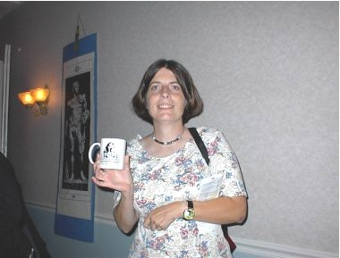Here I am showing off the cup that I won