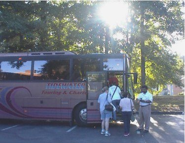 Getting on the bus early in the morning