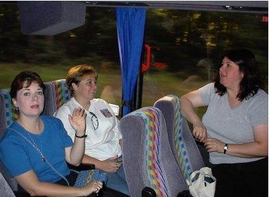Jennifer N., Bonnie, and Cynthia on the bus