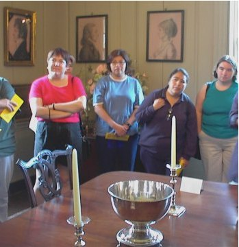 Sue, Sylvia, Gabi, and Jennie with a bowl (what it's used for escapes me just now)