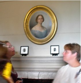 Molly and Bonnie viewing a portrait